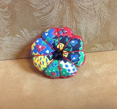 Pin Cushion, Hand Made, Vintage Fabrics, Flower Calico Design, Feather Stitching