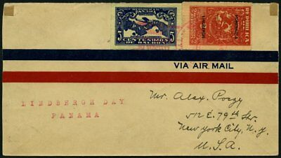 PANAMA 142-3 BRIEF, 9.1.1928, 2 und 5 C. Sonderflug Lindsbergh Day nach New York