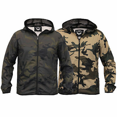Mens Camouflage Jacket Brave Soul Kagool Coat Military Hooded Cagoule Mesh New