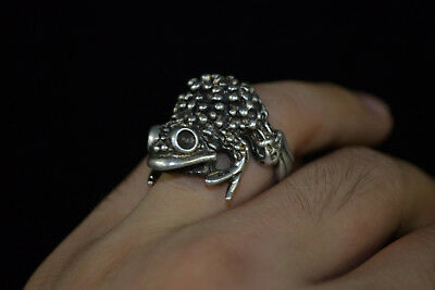 Vintage Collectible old handwork Tibet Silver carve wealthy frog rare man Ring