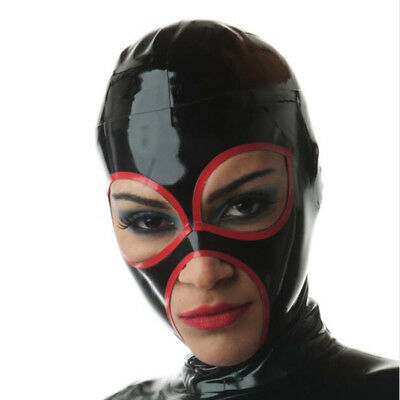 Unique Latex Hood Handmade Rubber Mask for Catsuit Cosplay Club Wear Costume