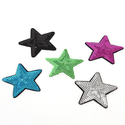 Star pentagram Sequins Embroidery Iron sew on patch applique DIY clothing 7.5cmD
