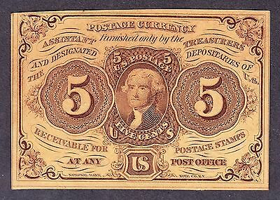 US 5c Fractional Currency 1st Issue Imperf w/ Monogram FR 1230 Ch CU (064)