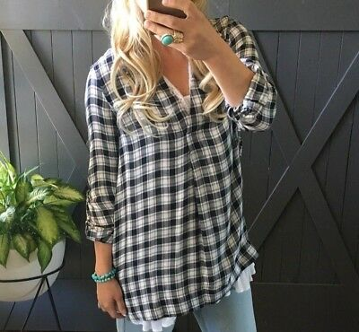2XL NWT Boutique Plaid Country Gal Western Boho Blouse Top Women's Plus Size XXL
