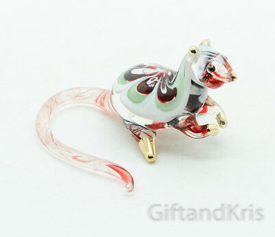 Figurine Animal Hand Blown Glass Rat Mouse No Painted w/ Painted Gold Trim - 007
