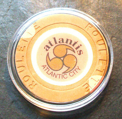 Atlantis CASINO ROULETTE CHIP - 1984 - ATLANTIC CITY, New Jersey - Tan - J