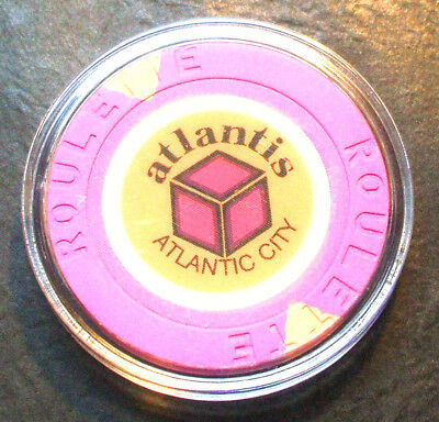 Atlantis Hotel CASINO ROULETTE CHIP - 1984 - ATLANTIC CITY, New Jersey -Purple-A
