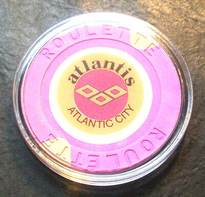 Atlantis Hotel CASINO ROULETTE CHIP - 1984 - ATLANTIC CITY, New Jersey -Purple-B