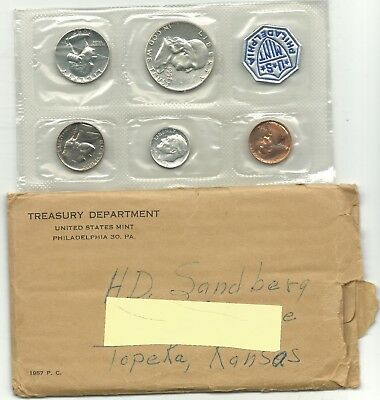A High Grade 1957 Us Mint Proof 5 Coin Set With 3 Silver Coins-Agt221
