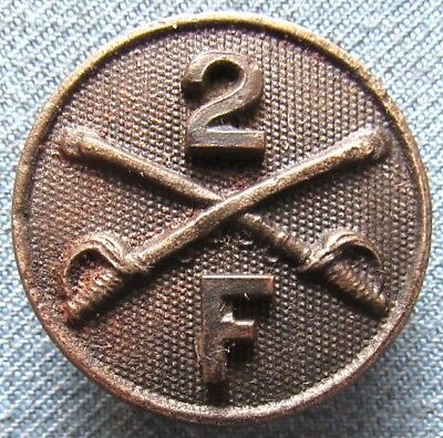 WWI US Army enlisted Type 1 collar disc for Troop F, 2nd Cavalry Regiment