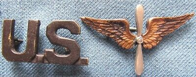 """WWI US Army officer full size """"U.S."""" & Air Service branch insignia"""