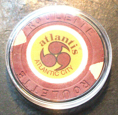 Atlantis CASINO ROULETTE CHIP -1984 - ATLANTIC CITY, New Jersey -Brown - A