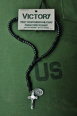 Men's Paracord Rosary - First Responder / Military (SpecOps Tactical Black) 325