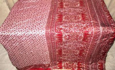 Cream Maroon Pure Silk 4 yard Vintage Sari Gift for Mother Fabrics Cheap #98O3N