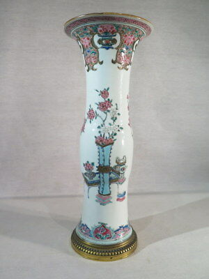 Ancien Vase En Porcelaine Famille Rose Chine Monte Bronze Dore Rehausse Or