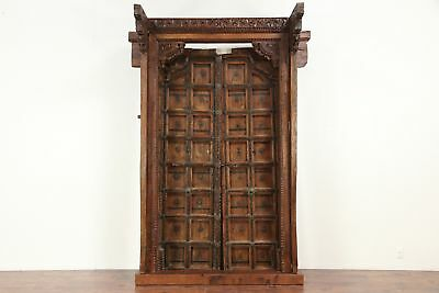 Teak Antique Architectural Salvage Entryway, Doors & Frame, Locks, India #29310