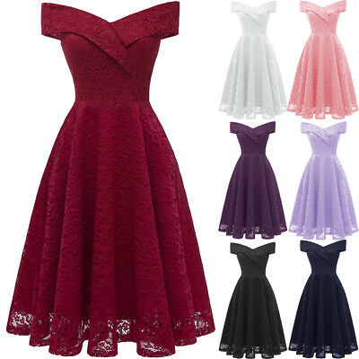 Womens Off Shoulder Lace Vintage Ladies Party Evening Prom Swing Dress Size 8-18