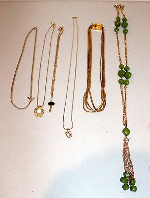 Lot of Vintage to New Gold Tone Necklaces & Pendants-Estate Jewelry--Wow!