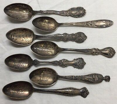 Mixed Lot of Antique Sterling Silver (.925) Spoons - All Decorative w/ Cities