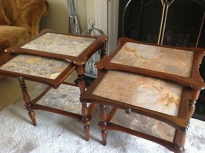 Pair Of Good Quality Occasional Tables In Walnut With Marble Inserts In Excellen