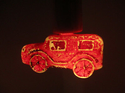 Vintage CAR Christmas Milk Glass Figural Light Bulb Ornament -WORKS