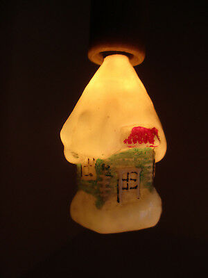 Vintage Cottage Christmas Milk Glass Figural Light Bulb Ornament-WORKS