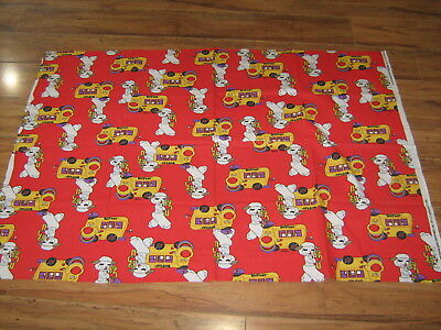 "SHARI LEWIS 1995 LAMB CHOP COTTON FABRIC Red School Bus Buster 33"" x 46"" Piece"
