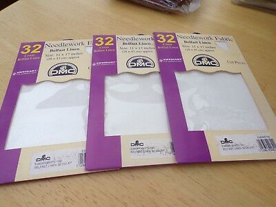 **3 x Large Pieces of DMC 32 count Belfast Linen for Cross Stitch/Embroidery**