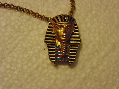 Vintage Gold Tone Necklace with Egyptian King Tut Pendant