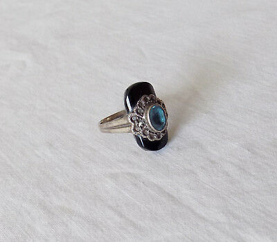 Beautiful Art Deco Silver Ring with Black and Blue Stone UK N US 7