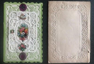 Vintage Victorian Era Lace Valentines Day Card and Embossed Envelope