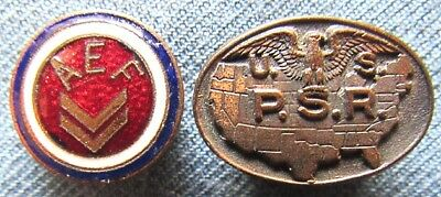 WWI lapel buttons for AEF overseas service & US Public Service Reserve