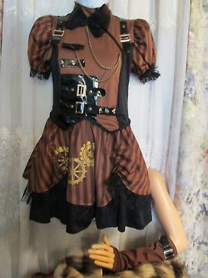 New Child's Size L STEAMPUNK Halloween Costume w/fingerless gloves by CostumeUSA