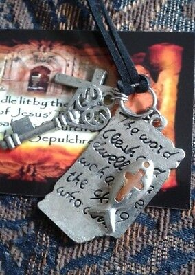 Charm Cross Holy Fire Relic Necklace Tomb of Jesus