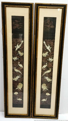 Antique Exquisite Pair Chinese Qing Gold Silver Embroidery Robe Panels