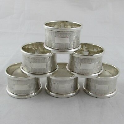 Art Deco Style Solid Silver Engine Turned Napkin Rings Set 6 No Engravings 1966
