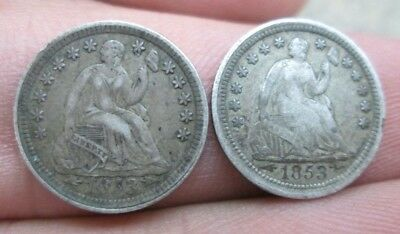 Two 1853-P With Arrows Seated Liberty Silver Half Dimes No Reserve