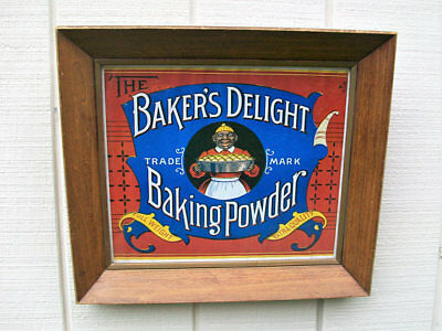 Vintage Glass Framed Bakers Delight Baking Powder Black Americana Advertising