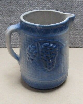 Vintage Salt Glaze Stoneware Pitcher Grape Pattern