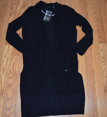 f91c103aa2 NWT Womens DKNY JEANS Black Long Open Front Knit Cardigan L Large  98