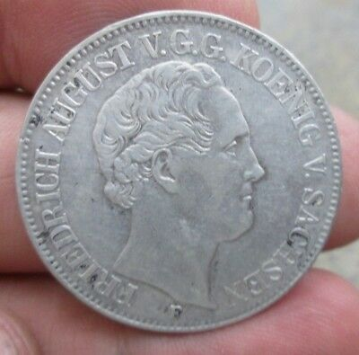 1853 German States Saxony One Thaler Silver Coin No Reserve