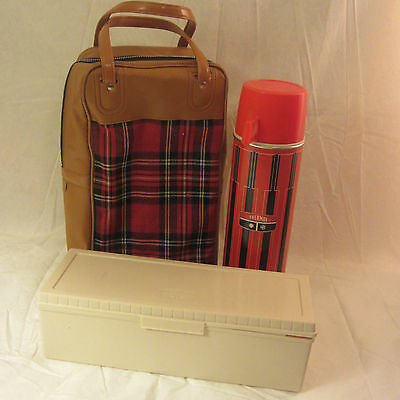 Vintage  Red Plaid Picnic Bag With Metal Thermos & Sandwich Box