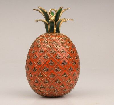 China Enameled Cloisonne Statue Pineapple Old Hand-Carved Decoration