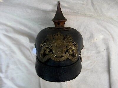 Untouched Bavarian O/R Brass mounted Pickelhaube from Michael Baldwin collection