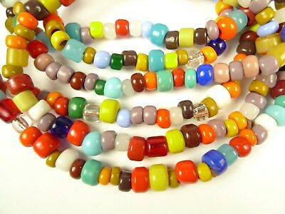 2 Strands Mixed Bright Tribal Vintage Padre Glass Trade Beads Czech Components