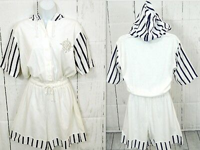 Vintage 90s Blue White HOOD Striped Shorts Romper Jumper Knit Yacht Club L