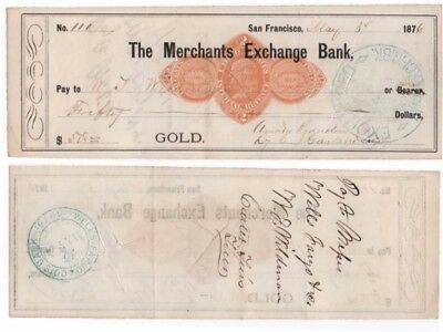 (2) Diff. 1876 Checks, THE MERCHANTS EXCHANGE BANK, San Francisco, CA,  GOLD