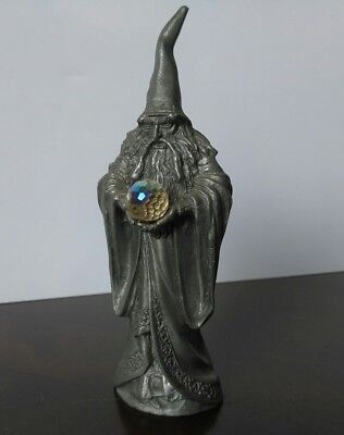 Pewter Master Wizard With Crystal Ball