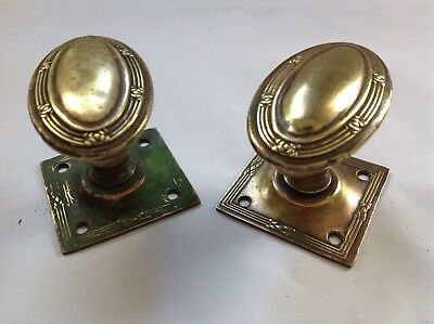 Pair of brass vintage Regency style oval door knobs with square plate - salvage