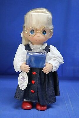 """Precious Moments 12"""" Vinyl Doll  You're the Best Teacher Blonde Signed"""